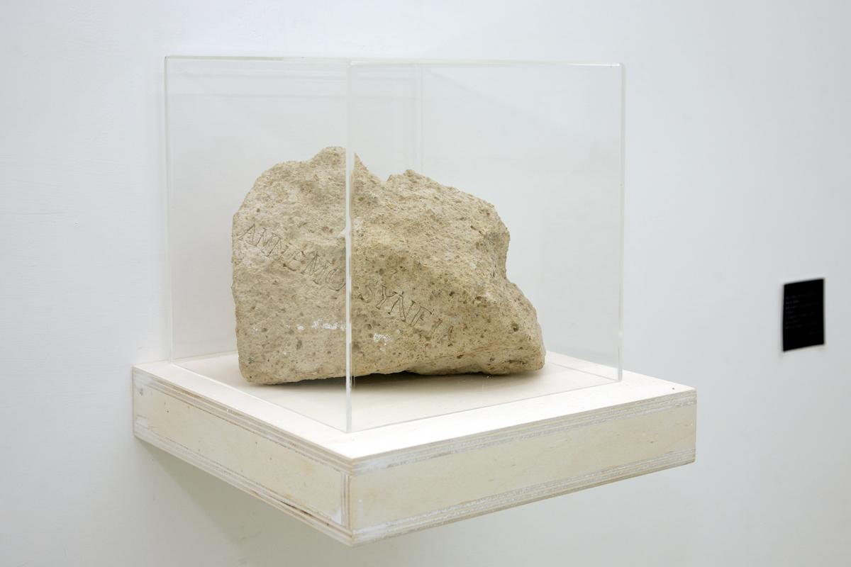 Erick Beltrán, Sybil of Cumea, 2009, inscribed tufo stone