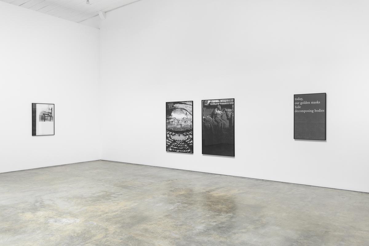 Golden Masks Hiding decomposing bodies, 2013, exhibition view at Galeria Baginski, Lisboa photo Bruno Lopes