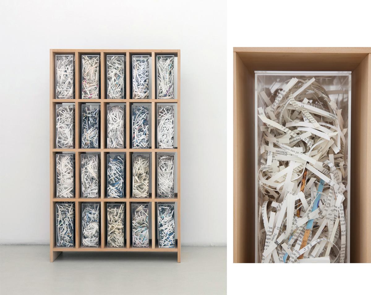 Biblioteca 01, 2008, legno, plexiglass, carta, cm 155x95x30