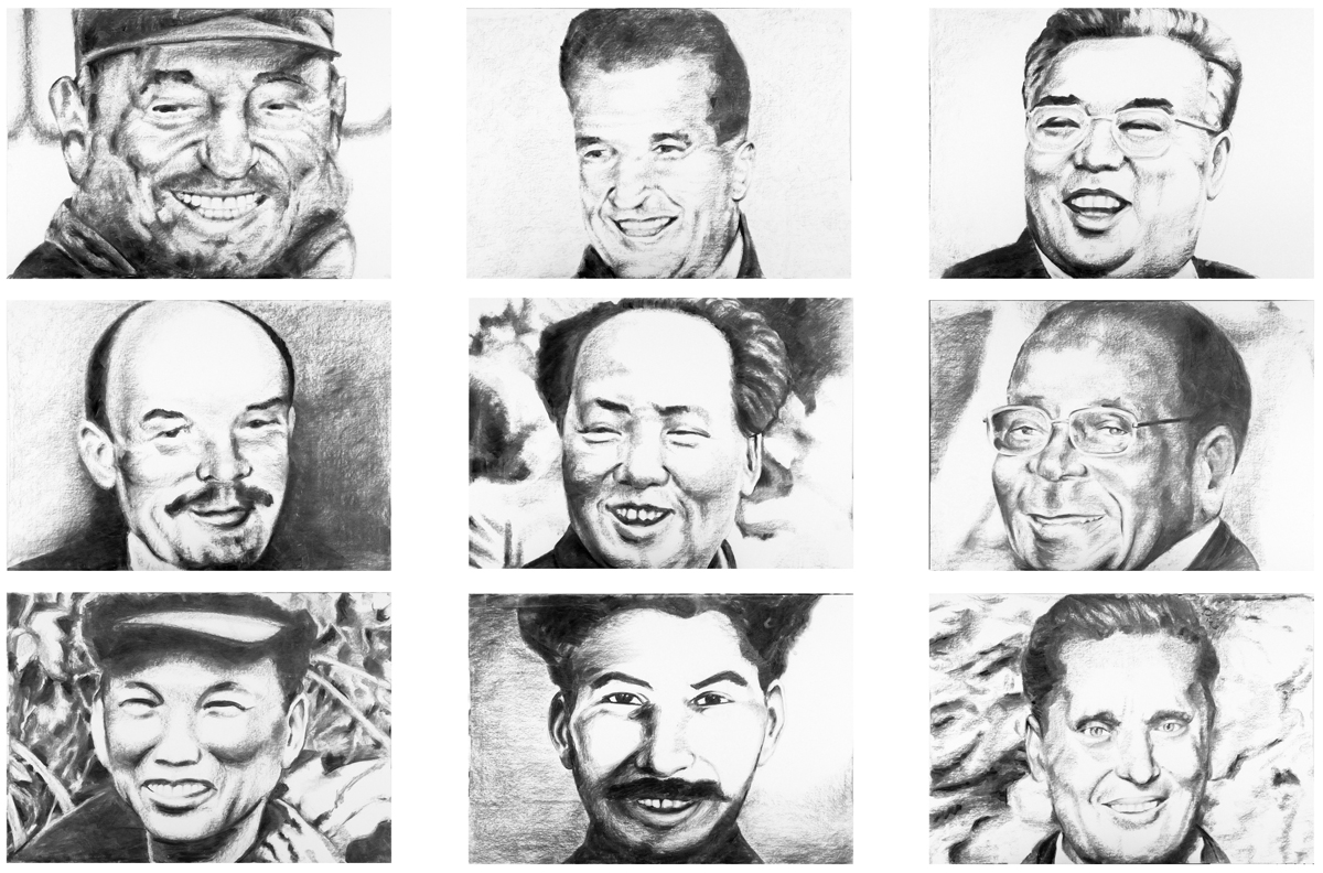 Communist's laugh, 2007, charcoal on paper, cm 210 x 300 – cm 165 x 261