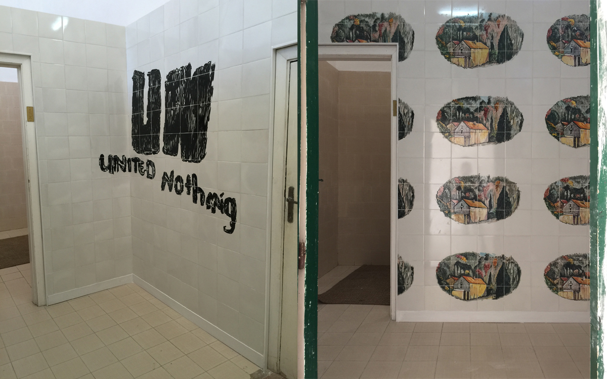 UN united nothing (Srebrenica quote 1994), 2015, site specific at Certosa di S.Giacomo, Capri