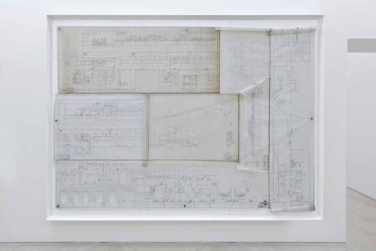 The identity of concrete, 2015, original projects on tracing paper of the Mondadori cut and sewed, cm 260 x 350 x 15 on loan to Museo Madre, Napoli, I, (Per_forming a collection #4)