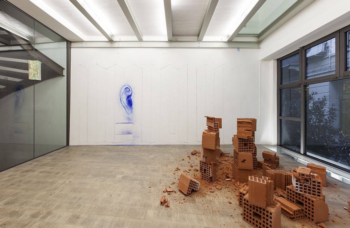 Through painting, 2015, exhibition view with Marc Breslin at Fondazione Rivolidue, Milano