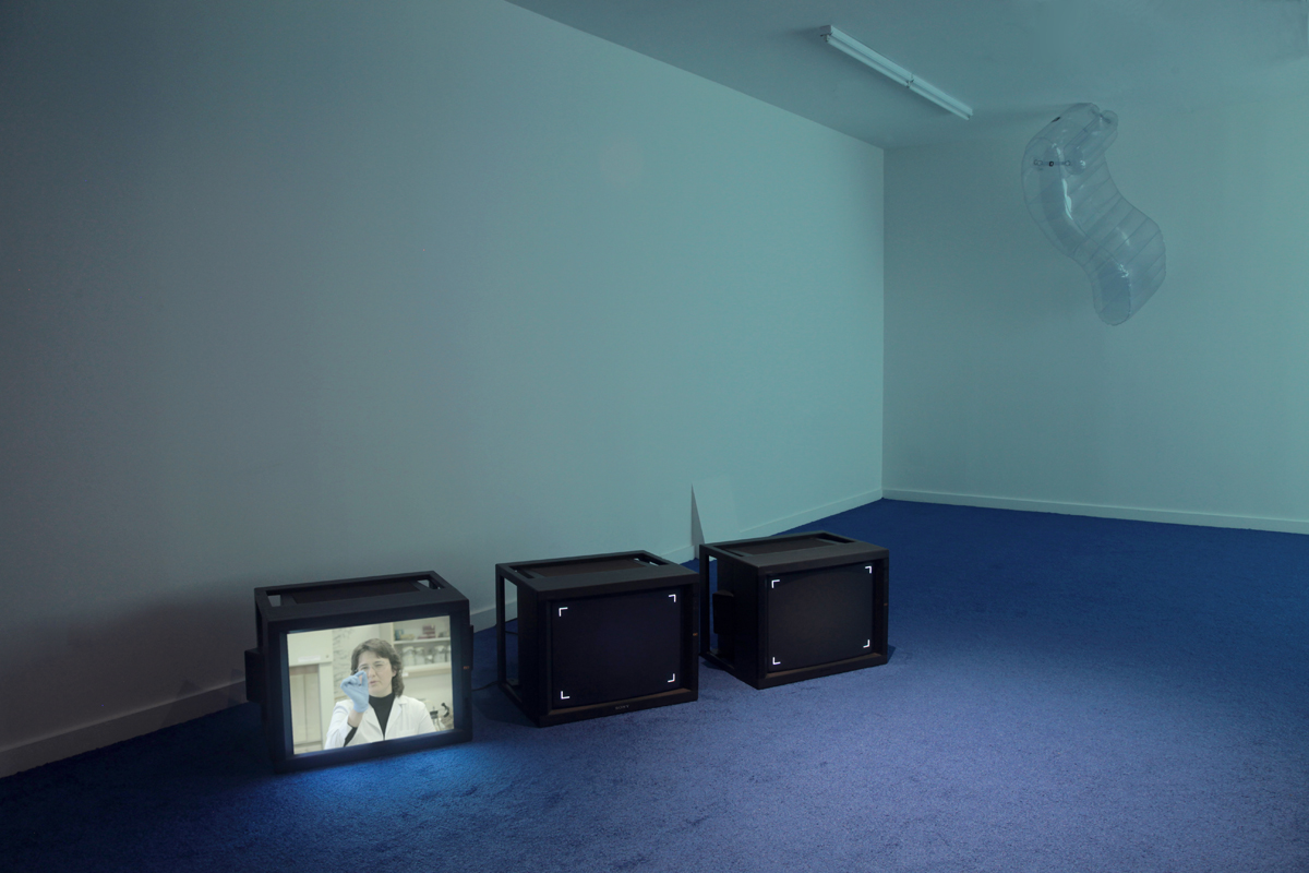 Monitors loop system: Fuzzy Logic I, 2013, Untitled (Sinkhole), 2013, Beams of Cathodic Rays Shooting, 2013, and Hoods Up! (Every Participant's Dream of Violence), 2012, at e-flux, New York