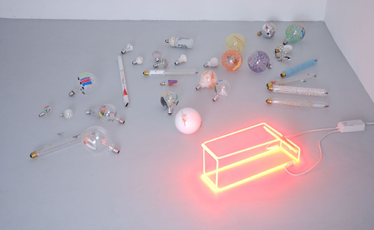 Invest in fucking not killing (Malaparte house), 2005, n° 35 painted lamps, neon, variable dimensions