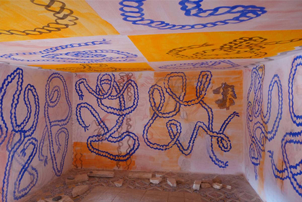 Correr à volta, 2015, walls and ceiling, Capo d'Orlando beach stones on ruins mural view at La Stanza della Seta, Museo Lucio Piccolo, Ficarra, Sicily, I