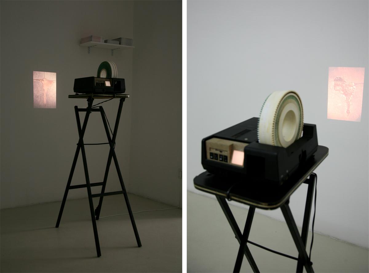 Runo Lagomarsino, Contratiempos, 2010, 100 slides loop, podium, postcards