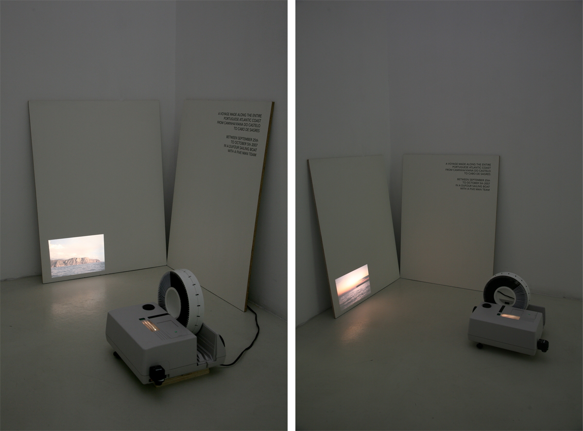 Pedro Neves Marques, Portuguese Atlantic Coast, 2007-2010, slide projection, vinyl lettering, wood