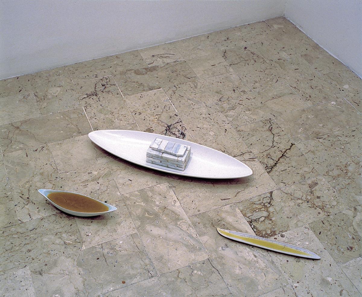 Casa della barca, 2004, porcelain, marble, pepper, bee wax, olive oil, cm 57 x 91 x 7