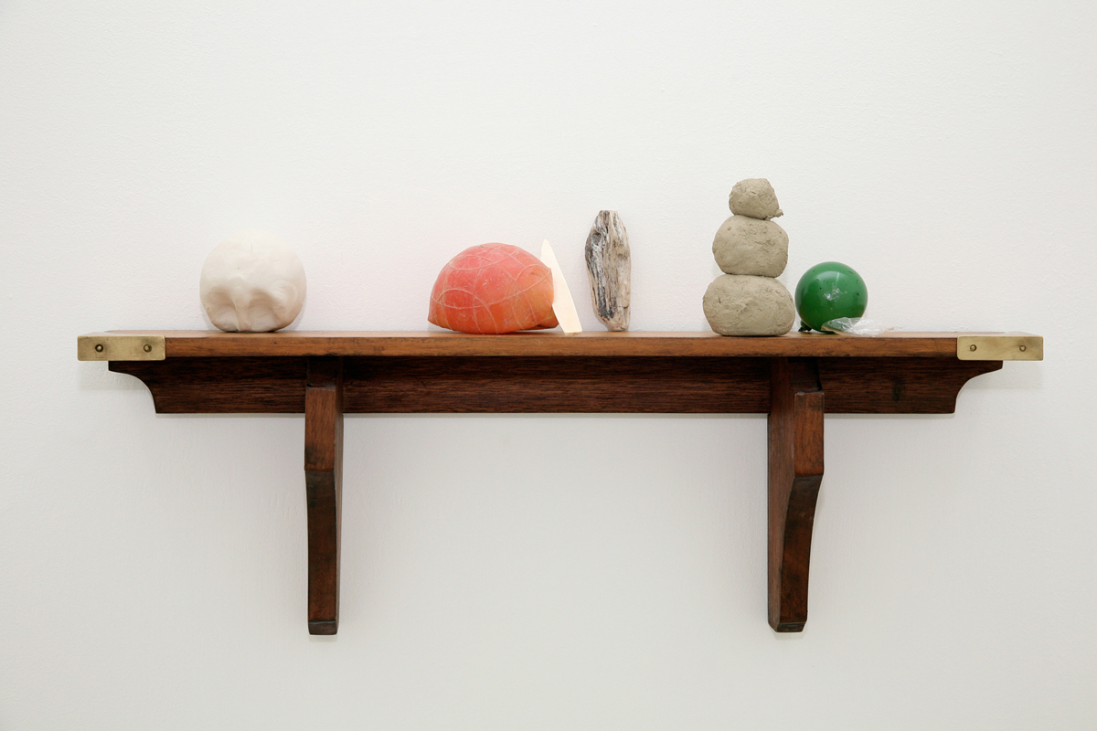 calendario delle semine, 2009, shelf chestnut, clay, plastic, ceramics, wood, river earth, painted glass, cellophane, brass, cm 30 x 60