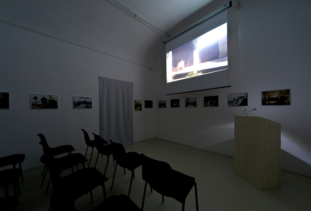 Rosas: The Trilogy, talk and screening room, 2012, exhibition view