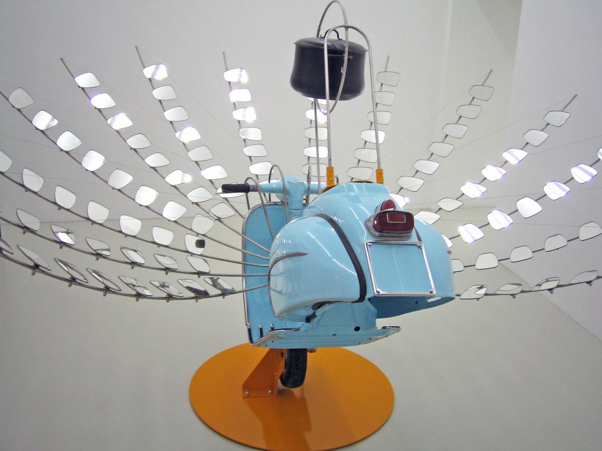 Shivavespa, 2005, Vespa, mirrors, stainless steel bars, pot, cm 300x250x178