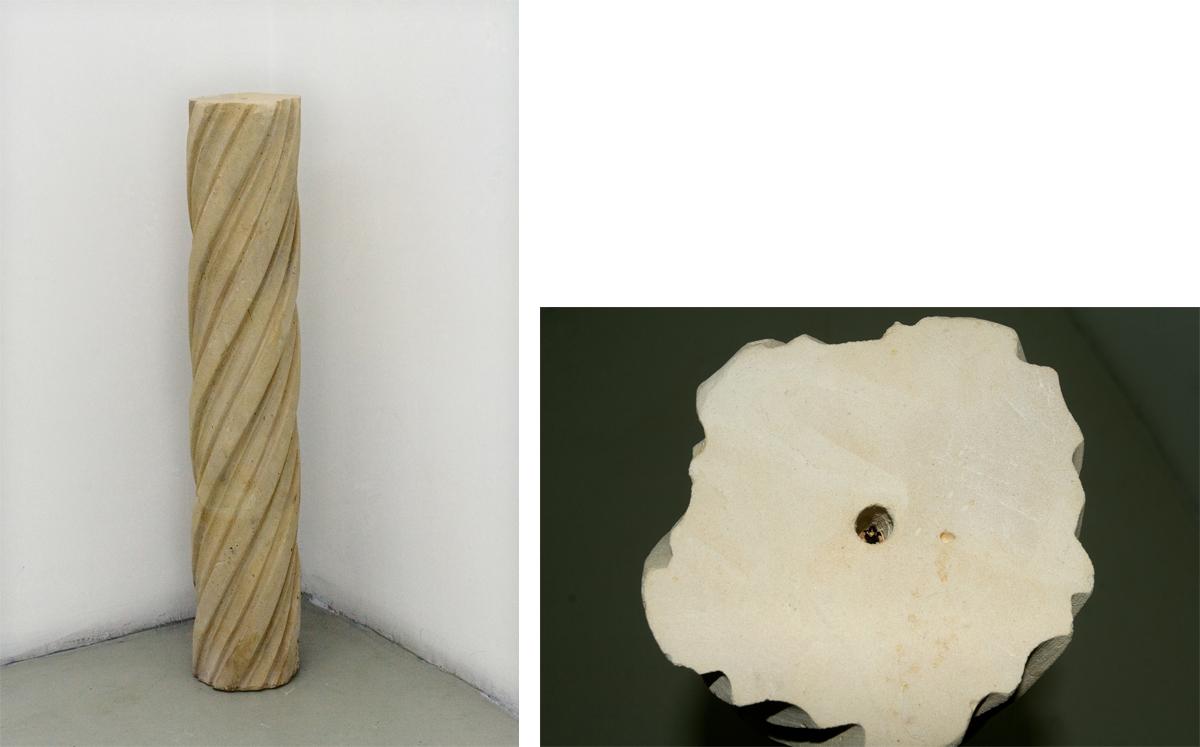 Tortile, 2007, stone, plastic miniature cm 80x15 Ø