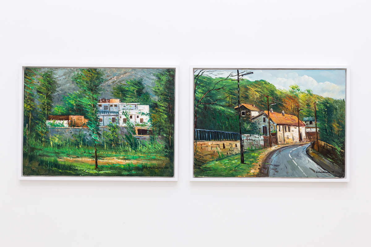 "The most wanted place ever (Pakistan, 2011), / The most visited place ever"" (Neauphle-le-Château, 1979), 2016, oil on canvas, cm 50x70 each"